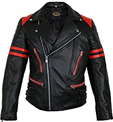 MDM Retro Motorrad Lederjacke 80´s Oldschool erhältlich (3XL, schwarz/rot)