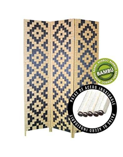 Biombo de Bambú Edición Twin Peaks Tres paneles diseño Stars, tonos Natural y Negro