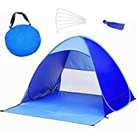 QMQ Pop up Beach Tent Outdoor Automatic Pop up Instant Portable Cabana Beach Tent 2-3 Person Fishing Anti UV Beach Tent Beach Shelter 145X165X110CM Blue
