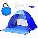 Pop-Up Familien Sonnenschutz Strandzelt, UV Schutz Strandmuschel, Selbstaufbauend Automatisch Strand Sonnenschirm Regenschirm, Tragbar Blau (Blau) 145X165X110 CM