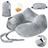 Ecosafeter Inflatable Travel Pillow - Neck Support Pillows,Quick Inflate Portable & Lightweight