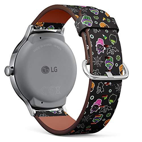 Art-Strap Kompatibel mit LG Watch Style - Leder-Armband Uhrenarmband Ersatzarmbänder mit Schnellverschluss (Happy Halloween Cupcakes süße Elemente)