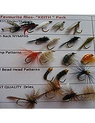 """Les mouches de pêche """"Keith préféré Lot de 20mouches truite UK Sèche pipi nymphes Pack # 16"""