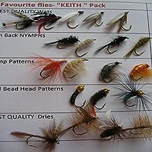 """Moscas Para Pesca favoritos de """"Keith 20unidades Moscas de la trucha UK seca WETS Nymphs Pack # 16"""