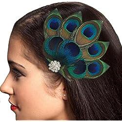 Covermason Damen Pfau Feder Haarklammern Haarnadel Haarschmuck Haarfang Strass Braut Hochzeit (Multicolor )