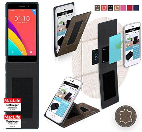 reboon Hülle für Oppo R5s Tasche Cover Case Bumper | Braun Wildleder | Testsieger