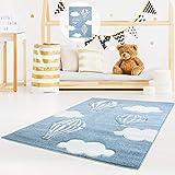 MyShop24h - Tappeto per Bambini di Alta qualità, Motivo: Nuvole, Blu, 120 x 170 cm