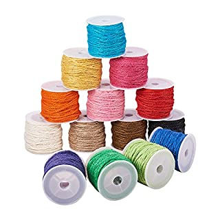 PandaHall Elite 14 rolls Colorful Hemp Cord Twine String For Jewelry Making And Craft, Mixed Colors,2 mm,About 10m/roll