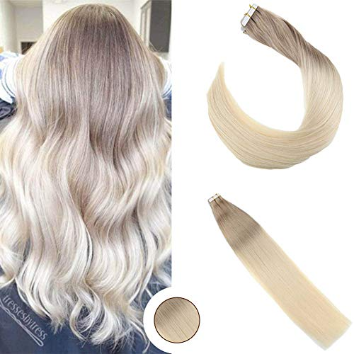 Ugeat 20 Zoll/50cm Tape in Extensions Klebestreifen Two Tone Ombre Ash Blonde to Lightest Blonde Tapes on Extensions Echthaar Blond 100g/40pcs
