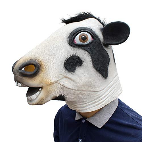 Halloween Niedliche Tier Kuh Latex Maske für Halloween Karneval Kostüm Bar Party, Horror Lustige Maske, Männer - Kuh Kostüm Niedlich