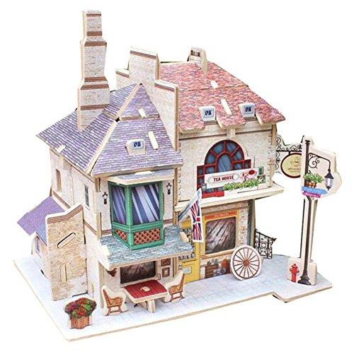 [Britisches Teehaus] 3D Puzzle Papiermodell Zusammengebautes Kabinenhaus Spielzeug Diy