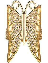 923a818b1c6c Suplight Anillo Mujer Chapado en Oro 18 K Platino Estilo Retro de Mariposa  Regalo de