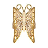 Suplight Anillo Mujer Chapado en Oro 18 K Estilo Retro de Mariposa Regalo de Navidad Talla 17