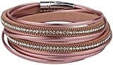 Feelinko Armband im Metallic-Leder-Design Armkettchen Armband Wickelarmband Armreif Damen Women pink