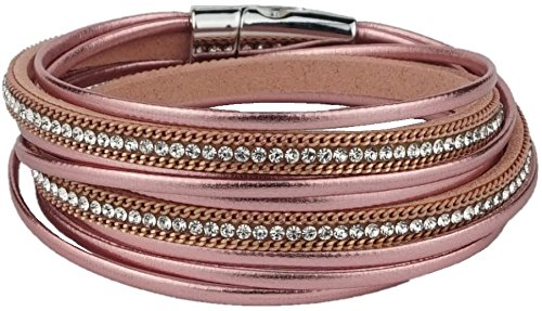 Trendy Damenarmband im angesagten Metallic-Leder-Design  Armkettchen | Armband | Wickelarmband | Armreif | Damen | Women | pink