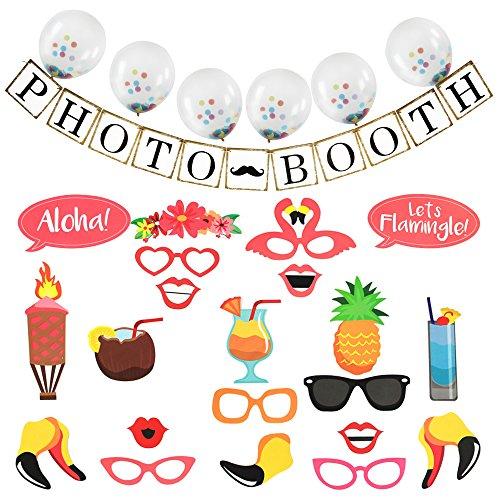 Hot Toys Halo (AMZTM Sommer Hawaiianischer Strand Pool-Party Lustige Ananas-Dekorationen 21 Stücke Fotostand-Requisiten +1 Stücke PHOTO BOOTH Banner+6 Stück Ballons)
