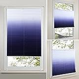 SHINY HOME® 2 Jahre Garantie Rollo (Breite und Höhe) 60 x 130cm für Fenster Tür mit Klemmträgern Allmähliche Verfärbung Plissee Vorhänge Verdunklungsrollo Klemmträger Fensterrollo Verfärbung-Blau