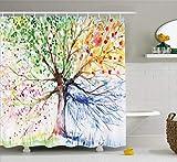 Abakuhaus Duschvorhang, Baum des Lebens Three of Life Bunter Baum Jahreszeiten Muster Farbenvoll Bunt Lebhaftes Druck, Blickdicht aus Stoff inkl. 12 Ringen Umweltfreundlich Waschbar, 175 X 200 cm