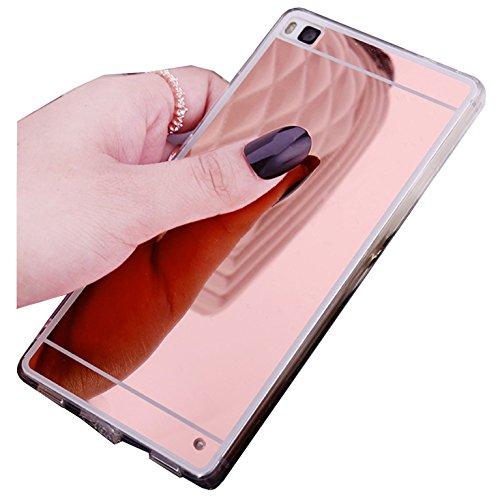 Funda Espejo Silicona Gel Tpu para Huawei P8 Lite 2017 Color Rosado