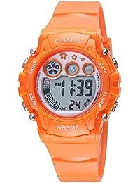 OHSEN Infantil Multifunción Reloj Deportivo Digital Luz fondo Reloj de pulsera Resistente al agua 1508 - Naranja