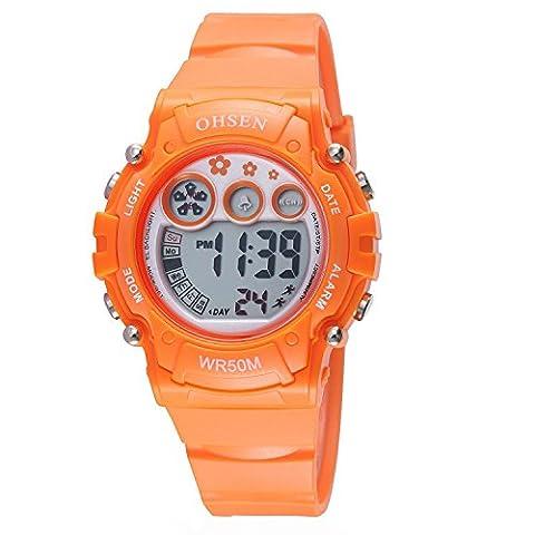 OHSEN Enfant Multifonction Montre De Sport Digital rétroéclairé Montre-bracelet étanche 1508 - Orange