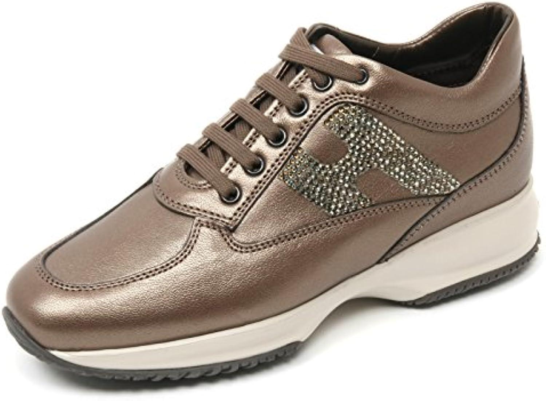 B9376 sneaker donna HOGAN INTERACTIVE scarpa H strass marrone chiaro shoe woman