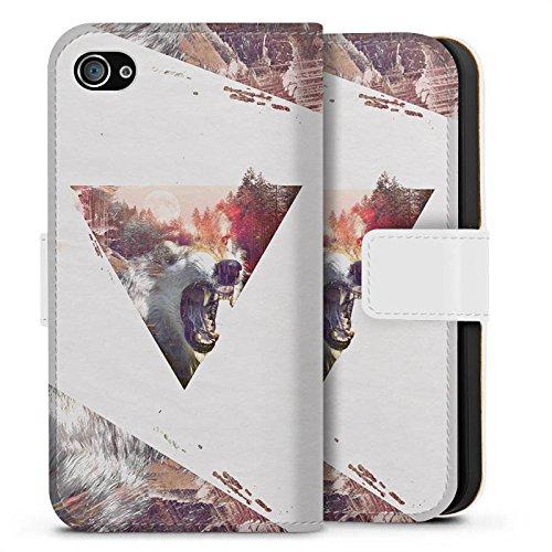 Apple iPhone X Silikon Hülle Case Schutzhülle Hipster Wolf Dreieck Sideflip Tasche weiß