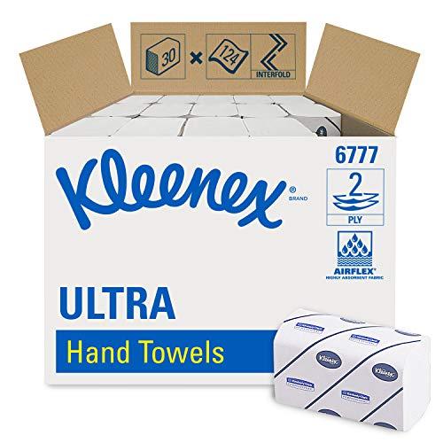 Kleenex Ultra 6777 Interfold-Handtücher, mittelgroß, 2-lagige, 30 Packungen x 124 Tücher, weiß