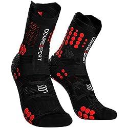 COMPRESSPORT Calcetines de Trail Hombre, Negros/Rojos, Calcetines de compresión para Running, Color Negro/Rojo, T4
