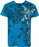 Sakkas - Camiseta de hombre con manga corta y decorado plateado metálico - turquesa-M