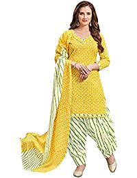 Kanchnar Women's Yellow Color Cotton Printed Unstitched Dress Material-753D8002