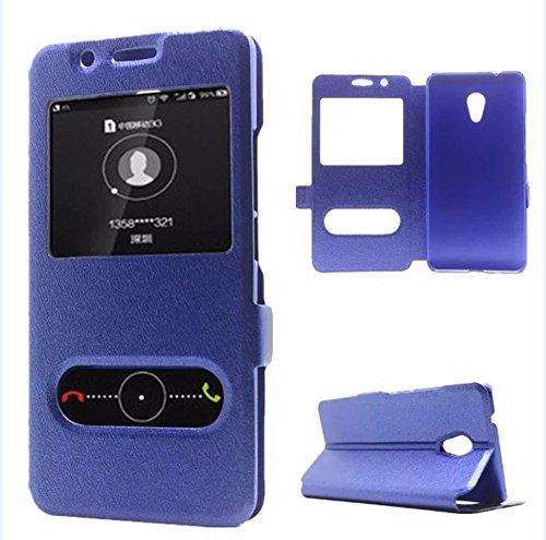 UKDANDANWEI Meizu M5s [YDT] Custodia - Flip Magnetico Portafoglio Style Chiusura Custodia Protettiva Cover e View Finestra per Meizu M5s - Blu