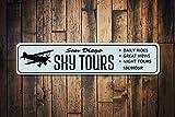 Cartel de Sky Tours, personalizado, con nombre de la ciudad, para avión, 10 centímetros, decoración de cueva de hombre, letreros de metal decorativos para mujeres, postes de pared, letrero de lata