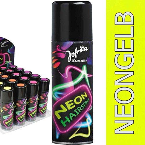 80er Jahre Haarspray Disco Farbspray neongelb Neonfarbenes Hairspray Neon Spray Karneval Accessoires Mottoparty Neonspray Silvester Motto Party Haar Farbe