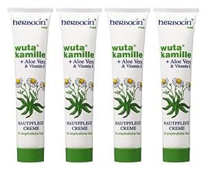 wuta kamille 82110 Herbacin Hautpflegecreme + Aloe Vera & Vitamin E Tube 75 ml, Viererpack