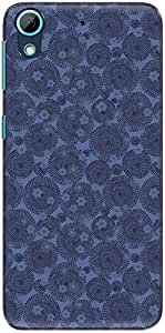 The Racoon Lean printed designer hard back mobile phone case cover for HTC Desire 826. (Blue Flowe)