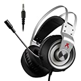 Xiberia USB Gaming Headset, K1 PC Headset, Over-Ear Gaming Headphones with Mic with Crystal Clear Sound, LED Lights & Noise-Canceling Microphone For PC & Mac 3.5mm
