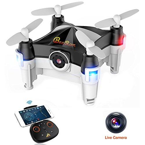 Beebeerun Mini Drone Plegable con Cámara, Altitude Hold 360 ° Flips 2.4Ghz Modo de Baile FPV RC Quadcopter para Principiantes,negro