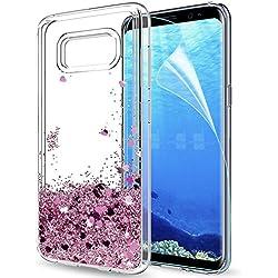 LeYi Coque Galaxy S8 Plus Etui avec Film de Protection écran, Fille Personnalisé Liquide Paillette Transparente 3D Silicone Gel TPU Antichoc Kawaii Housse pour Samsung Galaxy S8 Plus Or Rose