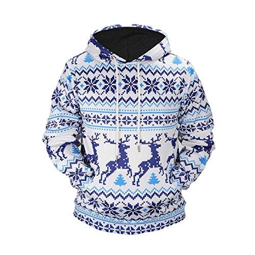 Feminine Anzug (Weihnachten Drucken Kapuzenpullover Damen Christmas Kapuzenpullis Frauen Hemden Winter Taschen Tops Bluse mit Kapuze Übergröße Pullover Mantel Sweatshirts Outerwear Elecenty (Blau, XXXL))