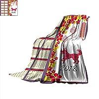 "Blanket as Bedspread Lunar Calendar Chinese Calendar for Happy New Year Year of The Dog Throw Blanket 50""x30"""