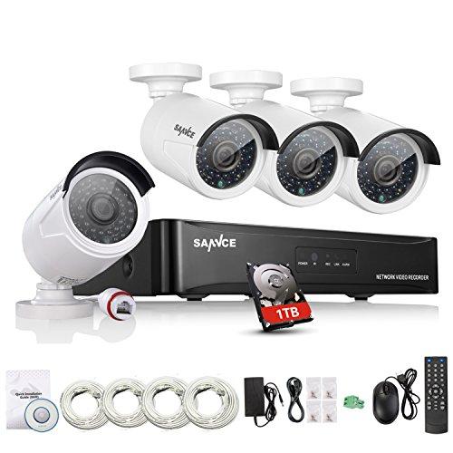 SANNCE 1080P Kit Sorveglianza NVR 4 Canali 4 Telecamera POE 1080P Videosorveglianza Videoregistratore IR Telecamere di Sicurezza H.264 Impermeabile IP66 Sistema di CCTV Kit di Sorveglianza 1T HDD