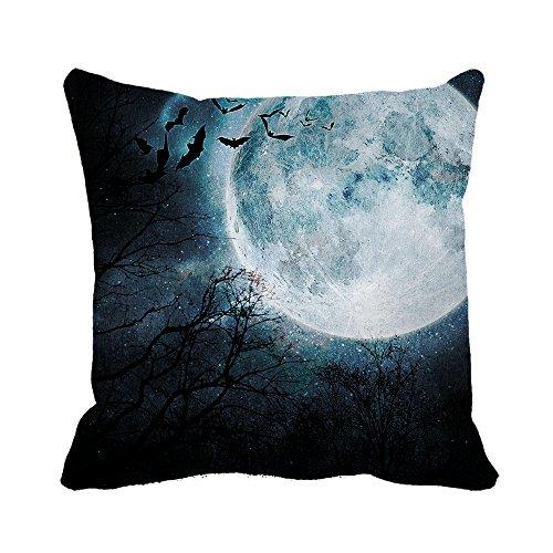 warrantyll Halloween Moonlight Fledermäuse Sofa Baumwolle Home Kissen quadratisch quadratisch dekorativer Überwurf-Kissenbezug, baumwolle, #Color 1, - Moonlight Fledermaus Kostüm