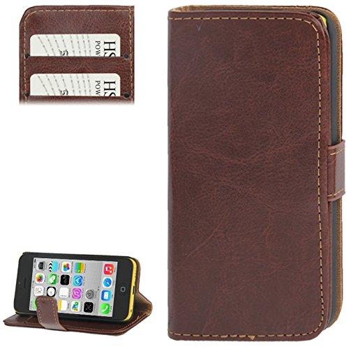 nlichkeits-Fall Crazy Horse Textur Ledertasche mit Kreditkarten Slot & Halter für iPhone 5C (Farbe : Braun) ()