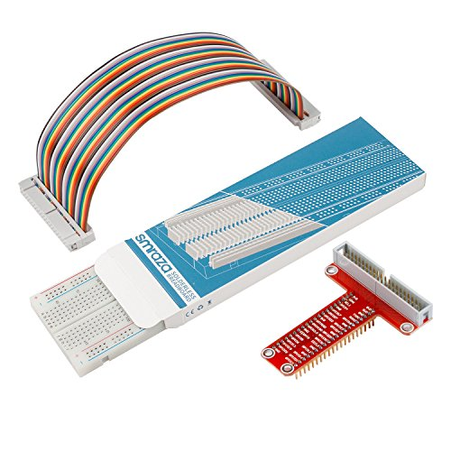 Smraza T Type GPIO Breakout board for Raspberry Pi 3 2 Mode B/B+ with 40 Pin Cable and 400 holes Breadboard