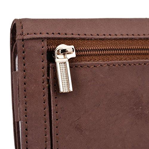 Kroo Pochette Housse Téléphone Portable en cuir véritable pour Samsung Galaxy Note 3/Note 4 Marron - marron Marron - peau