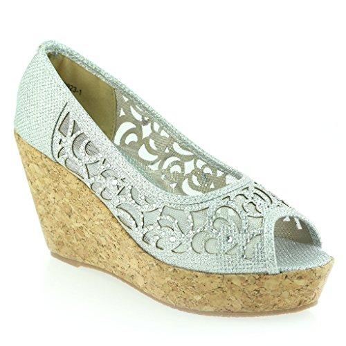 Femmes Dames soirée Peeptoe Diamante Talon Compensé Sandale Chaussures Taille Argent