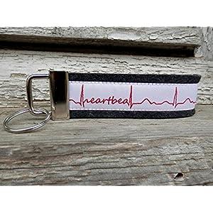 Schlüsselanhänger Schlüsselband schwarz grau Mein und Dein Herz schlägt! weiß rot Heartbeat !