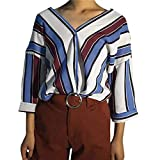 Camicie da Donna Top Blush Shirt Streetwear Felpe Casuale Donne Polo Bambina Camicette Tuniche Abiti Gilet Autunno Stripe Casual Button T Shirt (Color : Blau, Size : XL)