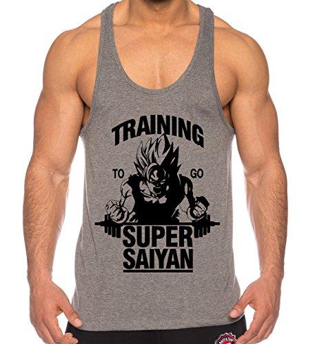 Goku Super Saiyan de los hombres camisa del músculo One Goku Dragon Master Son Ball Vegeta Turtle Roshi Piece Gym , Farbe2:Gris;Größe2:L